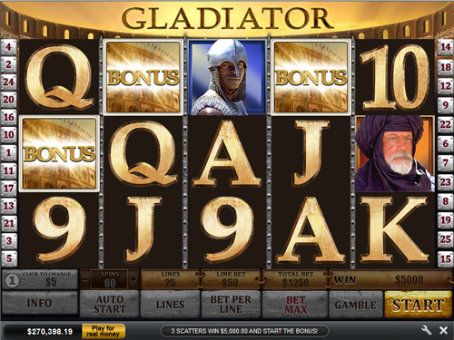 free Gladiator bonus feature