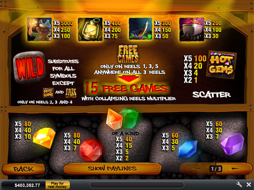 free Hot Gems slot payout