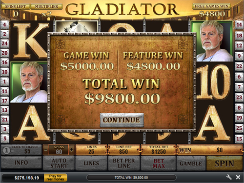 free Gladiator bonus and free spins win