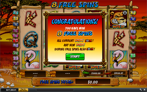 free Wild Gambler free spins feature prize