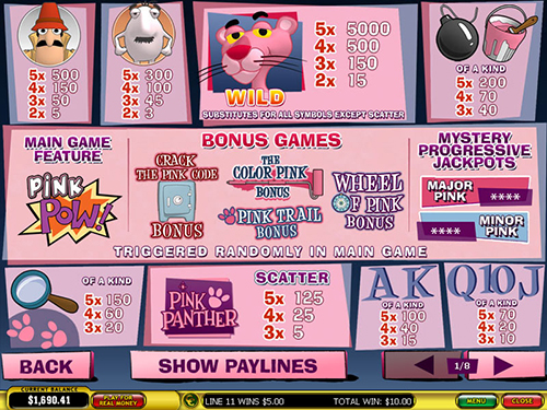 free Pink Panther slot payout