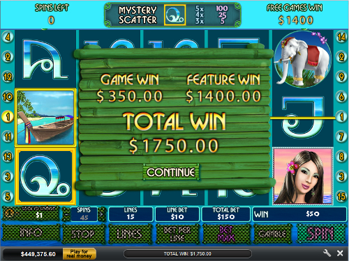 free Thai Paradise free spins feature total win