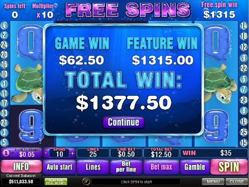 free Great Blue free spins feature prize