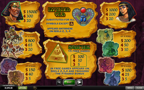 free The Pyramid of Ramesses slot payout