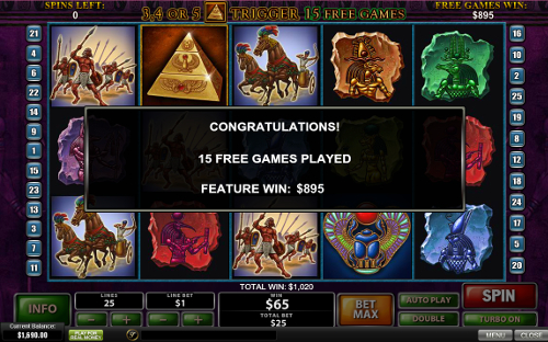 free The Pyramid of Ramesses free spins prize