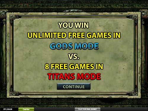 free Battle of the Gods free spins feature