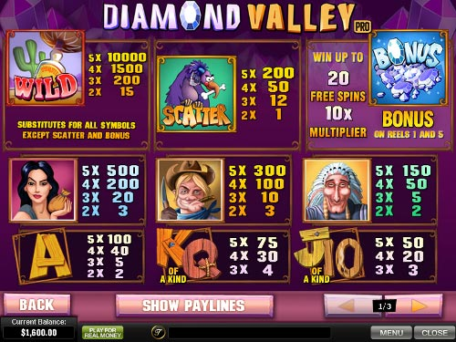 free Diamond Valley Pro slot payout