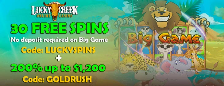 lucky creek casino no deposit free spins and match bonus